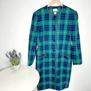 Leslie Fey for Lord & Taylor plaid coat size 18